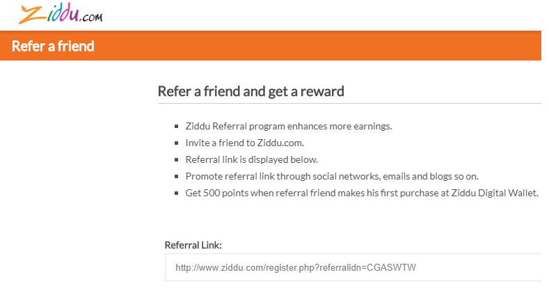Ziddu Wallet Referral Code